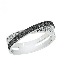 The New LBD: The Little Black Diamond Engagement Ring | Black and white diamond crossover ring set in 14k white gold, $1,695; effyjewelry.com