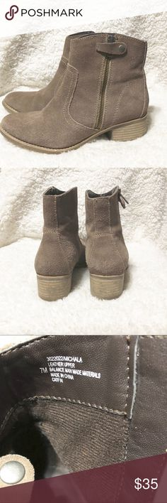 Euro Soft Michala Zippered Ankle Boots Good used condition. Heel height 1 3/4 inches. Taupe color. Sofft Shoes Ankle Boots & Booties