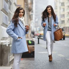 Discover this look wearing Sheinside Coats, Asos Sweaters, Michael Kors Bags, Sheinside Pants - Baby blue coat by LarisaCostea styled for Chic, Everyday in the Winter Spring Outfits, Winter Outfits, Stylish Outfits, Cute Outfits, Outfits Mujer, Blue Coats, Handbags Michael Kors, Women's Handbags, Autumn Winter Fashion