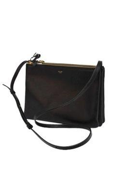 Celine Small Black Trio Leather Messenger Bag