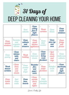 31 Days of Deep Cleaning Your Home. Get your home in tip-top shape in just 31 days. Deep cleaning lists, deep cleaning tips and tricks, ideas, and how-tos. Cleaning Tips 31 Days of Deep Cleaning Your Home - Laura's Crafty Life