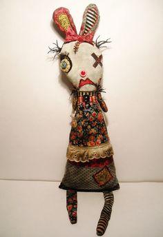 Handmade Art Doll Monster Rabbit Lexie by JunkerJane on Etsy