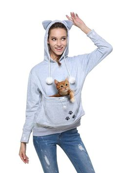 Cat Eared Pouch Sweatshirt (a pouch to put your cat in!!!)!!!!! Crazy cat lady heaven!!!