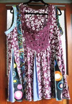 Funky  Reconstructed Tunic Plus Size. $65.00, via Etsy.