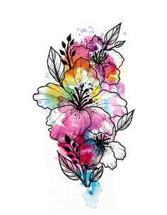 On my left forearm Floral Tattoo Design, Flower Tattoo Designs, Flower Tattoos, Watercolor Disney, Watercolor Flowers, Watercolor Tattoo, Hibiscus, Nerdy Tattoos, Chrysanthemum Tattoo
