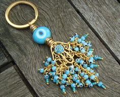 Blue Evil Eye Beaded Filigree Hamsa Keychain