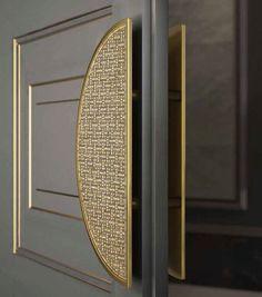 Sicis Door Handle. Gold tones, door panels, gray/grey. Door hardware. Architectural #hardware. #design