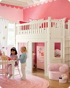 Awww my girl needs something like this!   pbk playhouse loft bed