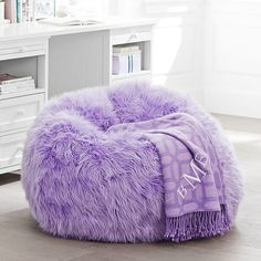 PB Teen Fur-rific Lilac Beanbag Slipcover + Insert, Small at Pottery... ($209) ❤ liked on Polyvore featuring home, furniture, chairs, accent chairs and purple