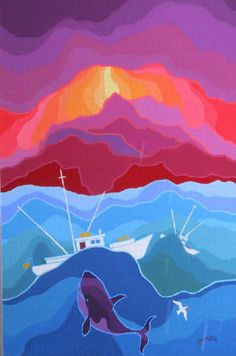 Edward Hardy (Ted) Harrison CM OBC RCA Rolling Seas presented by Hambleton Galleries Monochromatic Art, Cultural Crafts, Whale Art, Spirited Art, Artwork Display, Naive Art, Canadian Artists, Elementary Art, Sculpture