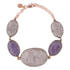 Coco oval bracelet white & purple cz in bronze with rose gold plating