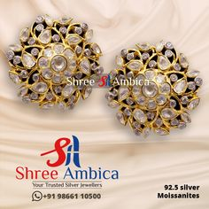 Discover this royal pair of ear studs reflecting classic perfection fashioned in 92.5 silver and pure Moissanites from Shree Ambica - Your Trusted Jewellers. Pick this for the upcoming festive/wedding season. Readily available in stock For Price and Details Message on - +919866110500 #ShreeAmbica #TrustedJewellers #SilverJewellery #indianbride #indianwedding #jewelryaddict #handcraftedjewellery #finejewellery #weddingsutra #jewelryforsale #jewelryswag #jewelrygoals #musthave Silver Jewellery, Fine Jewelry, Wedding Sutra, Jewellery Designs, Ear Studs, Wedding Season, Handcrafted Jewelry, Festive, Reflection