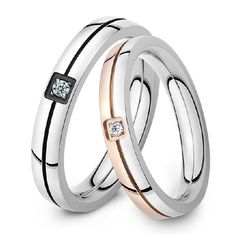Fashion titanium steel couple diamond ring - USD $39.95