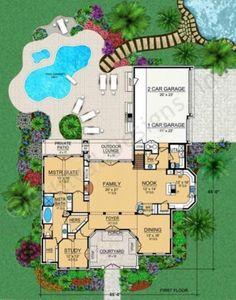 Villa Toscana House Plan - Texas Style Floor - House Plan - Villa Toscana House Plan First Floor