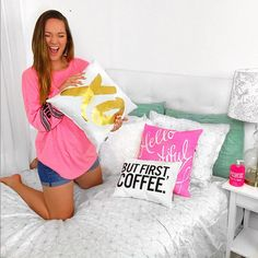 @Macbby11 shows us her super cute #mydormifystyle. Love how the pinwheel duvet looks with the But First Coffee Pillow, Hello Beautiful Pillow, and Gold Love me like XO Pillow| available on dormify.com