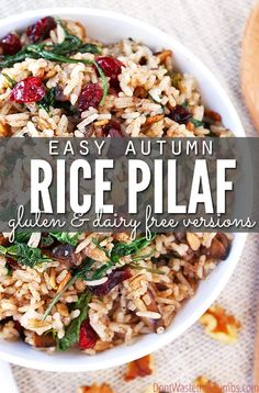 easy rice pilaf This simple autumn rice pilaf is a delicious gluten-free alternative to traditional stuffing. Simple & ready in 20 minutes so you can enjoy the flavor of the season! Rice Recipes, Gluten Free Recipes, Real Food Recipes, Dinner Recipes, Cooking Recipes, Healthy Recipes, Casserole Recipes, Yummy Recipes, Dinner Ideas