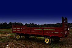 Hay wagon ride at night