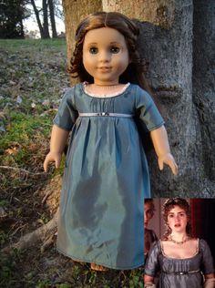 "Marianne Dashwood Blue Ball Gown from Jane Austen's ""Sense & Sensibility"" for American Girl Dolls - by Morgan May @ Stardust Dolls - http://www.stardustdolls.com"