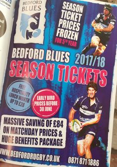 C'mon you Blues! Our local rugby team Bedford Blues are a tremendous team. Now is the time to get favourable price on your 2017/18 season ticket.
