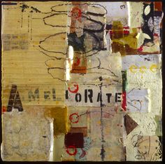 Encaustic Artist Mary Black - Encaustic Art Mixed Media on Paper Panel - The Committee