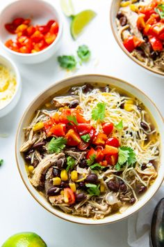 Loaded with shredded chicken, beans, corn, and spices, this Black Bean Chicken Chili is a quick and easy soup recipe. Enjoy as is, or serve with cornbread and a side salad! he combination of warming spices, shredded chicken, black beans, and corn just can't be beat. This shredded chicken chili tastes even better the next day, making it a great recipe to have in your meal prep arsenal. Garnish your bowl of chili with shredded cheese, cilantro, and diced tomatoes.