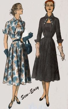 Vintage 50s Sewing Pattern Advance 5956 ROCKABILLY Dramatic and Unique Neckline and Bodice Dress Size 16 Bust 34