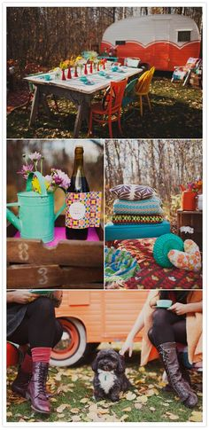 Not the Vegas party type? What about a cozy cozy bachelorette party that was a bit off the beaten path. The focus – good friends, great food and relaxing in the coziness of the outdoors and each other.  Photo & inspiration from Simply Rosie Photography and One Plus One Design from 100 Layer Cake.com