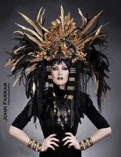 MADE TO ORDER Sci- Fi Cyber Futuristic gaga Wing Black and Gold Cleopatra Egyptian Fantasy headdress headpeice wig. $499.00, via Etsy.