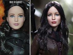 OOAK Jennifer Lawrence Hunger Games Katniss Everdeen doll repaint by Noel Cruz Ooak Dolls, Barbie Dolls, Art Dolls, Custom Barbie, Custom Dolls, Pretty Dolls, Beautiful Dolls, Beautiful Things, Jennifer Lawrence Hunger Games
