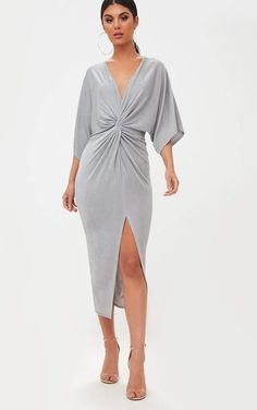 Ice Grey Slinky Twist Front Kimono Sleeve Midi DressWe are loving this slinky ice grey material, . Head online and shop this season's range of kimonos at PrettyLittleThing. Express delivery & student discount available.Pretty Little Thing Grey Kimono Style Kimono, Kimono Outfit, Kimono Fashion, Satin Kimono, Look Fashion, Fashion Outfits, Fashion Clothes, Fashion Women, Front Knot Dress