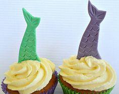 Mermaid Tail Fondant Edible Cake Cupcake Topper Party Decor Under the Sea Birthday Summer Beach Baby Bridal Shower Aqua Teal Purple - set 12