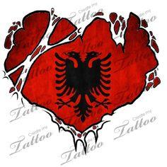 Marketplace Tattoo Albania flag heart #15138 | CreateMyTattoo.com