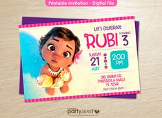 Baby Moana Invitation Printable Party Supplies Birthday