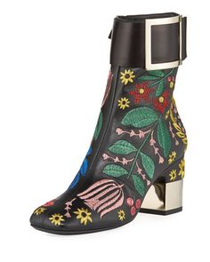 Podium+Flower+Embroidered+Bootie+by+Roger+Vivier+at+Neiman+Marcus.