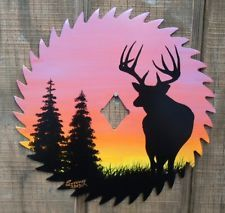 """Hand Painted 7 1/4"""" Saw Blade Whitetail Deer Silhouette 2"""