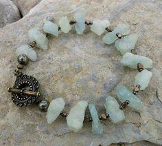 Rough Aquamarine Bracelet, light blue raw stone and brass jewelry