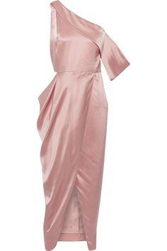 MICHELLE MASON One-shoulder cutout silk-charmeuse midi dress