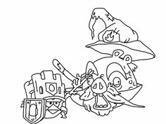 Angry birds epic coloring page - battle! Red vs fire wizard pig