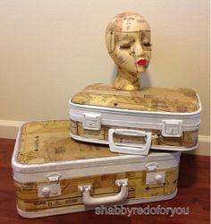 Vintage suitcases decoupaged with vintage sewing patterns!