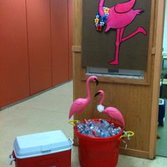Grandma's retirement party flamingos in the drink bucket - beach / summer theme