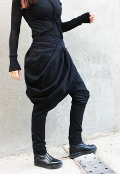 FREE SHIPPING/BLACK LOW CROTCH PANTS/DROP CROTCH PANTS/P0018