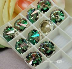 Crystal Celedon Swarovski Crystal 14mm Rivoli With Prong Setting Crystal Sew On Craft Supplies Jewelry Making