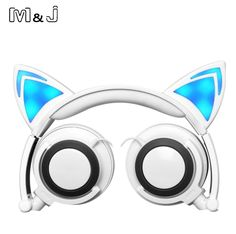 M&J Cartoon Luminous Flashing Glowing Headphones Cat Ear Headset With LED Light For PC IPhone Sumsang Apple Christmas Gift Box