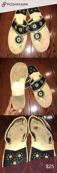 Black & Gold Jack Rogers Broken in black and gold jack Rogers. Still in great condition, just have a little wear in the mid sole and on the bottom of the shoe. Women's 9 (I wear an 8 and they fit with just enough room) Jack Rogers Shoes Sandals