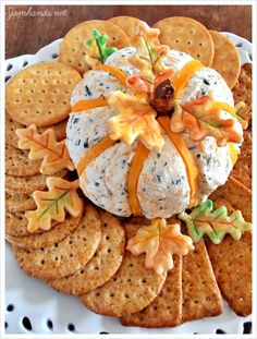 Pumpkin shaped cheese ball...adorable - and the recipe sounds delicious!