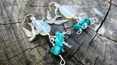 Soaring Sparrows- Silver, Opalite, and Turquoise Beaded Earrings-Sterling Silver Filled Wire Wrapped