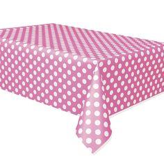 rntdk@Pink Polka Dot Tablecover Polka Dot Party Supplies PlatesAndNapkins.com