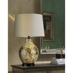 Gold Glass Mosaic Jar Table Lamp