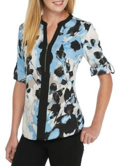 Calvin Klein Women's Floral Printed Roll-Sleeve Blouse - Silver/Lake Multi - Xl