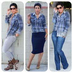 1 Shirt 3 Looks! Only Plaid Shirt You'll Need! You can order the shirt by calling Liv Boutique  at (415) 567-4730